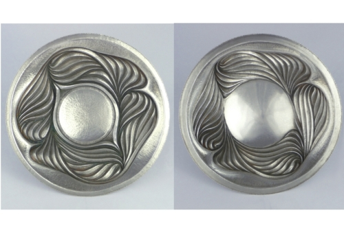 Two 'chased' silver dishes