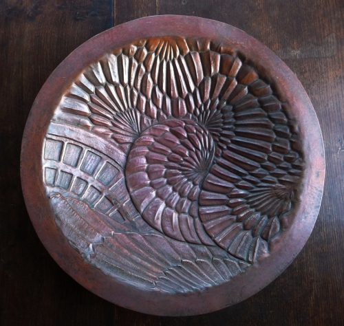 Chased copper dish