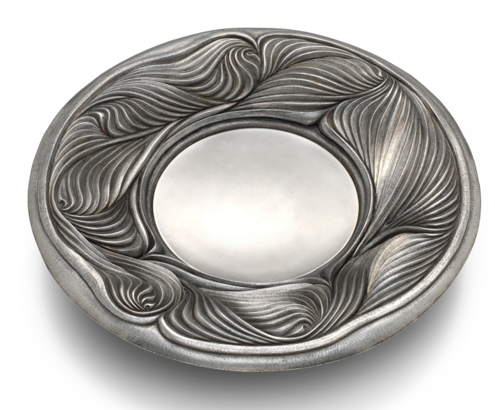 Chased silver dish