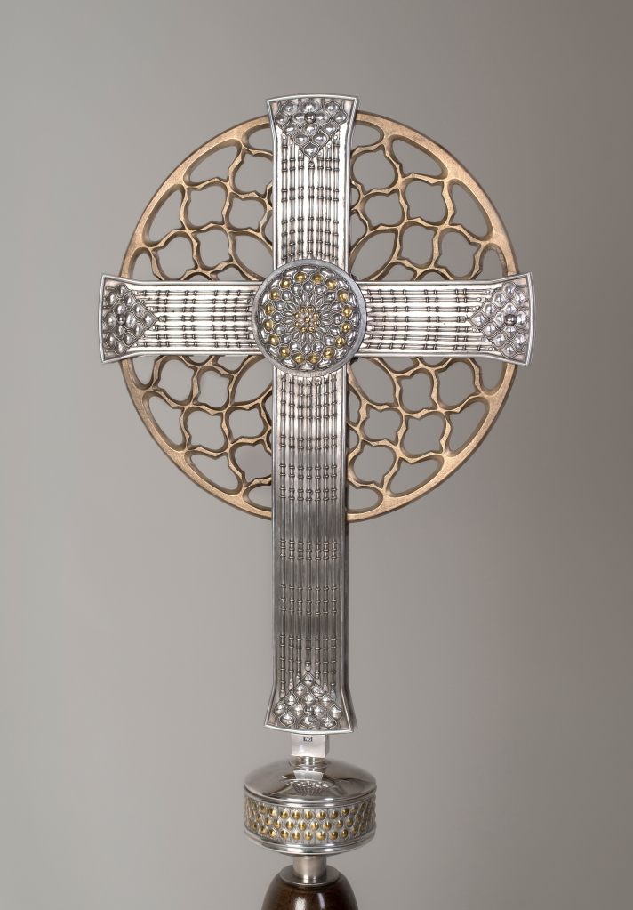 Alter Cross in silver and bronze with gold detail