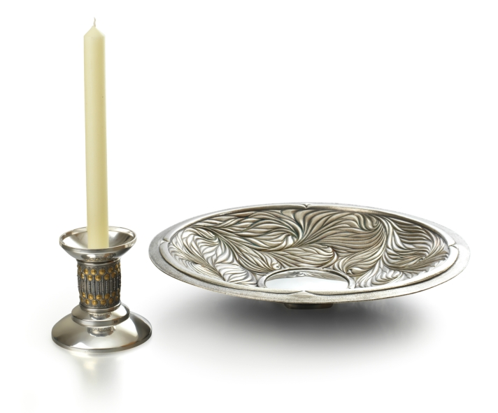 'Chased' silver fruit dish with a detachable candle stick base