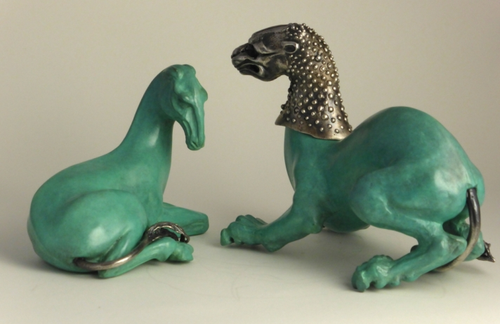 Patinated bronze and silver 'Beasts'